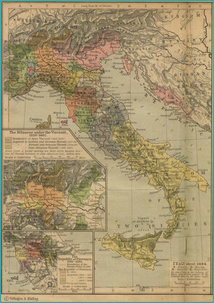 Historical Map Of Italy