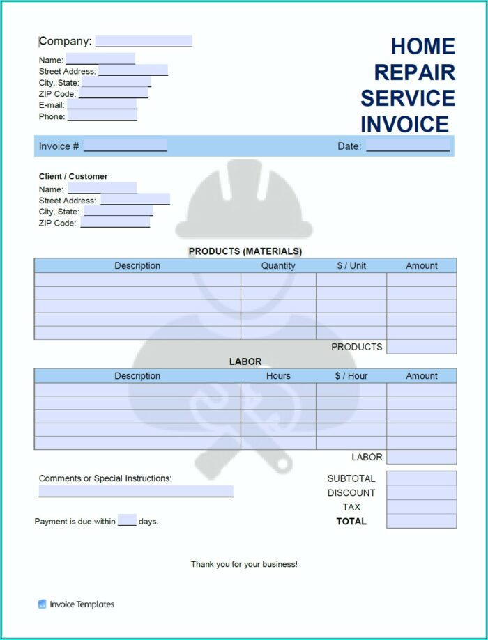 Home Repair Invoice Template Free
