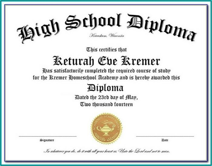 Homeschool High School Diploma Template Pdf