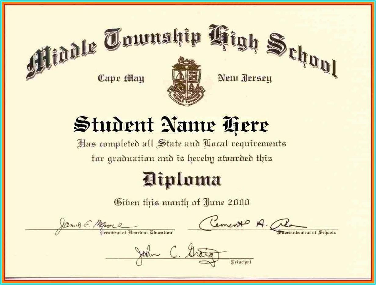 Homeschool High School Diploma Template