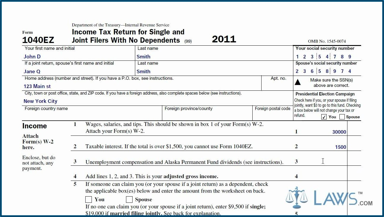 How To Complete The 1040ez Tax Form