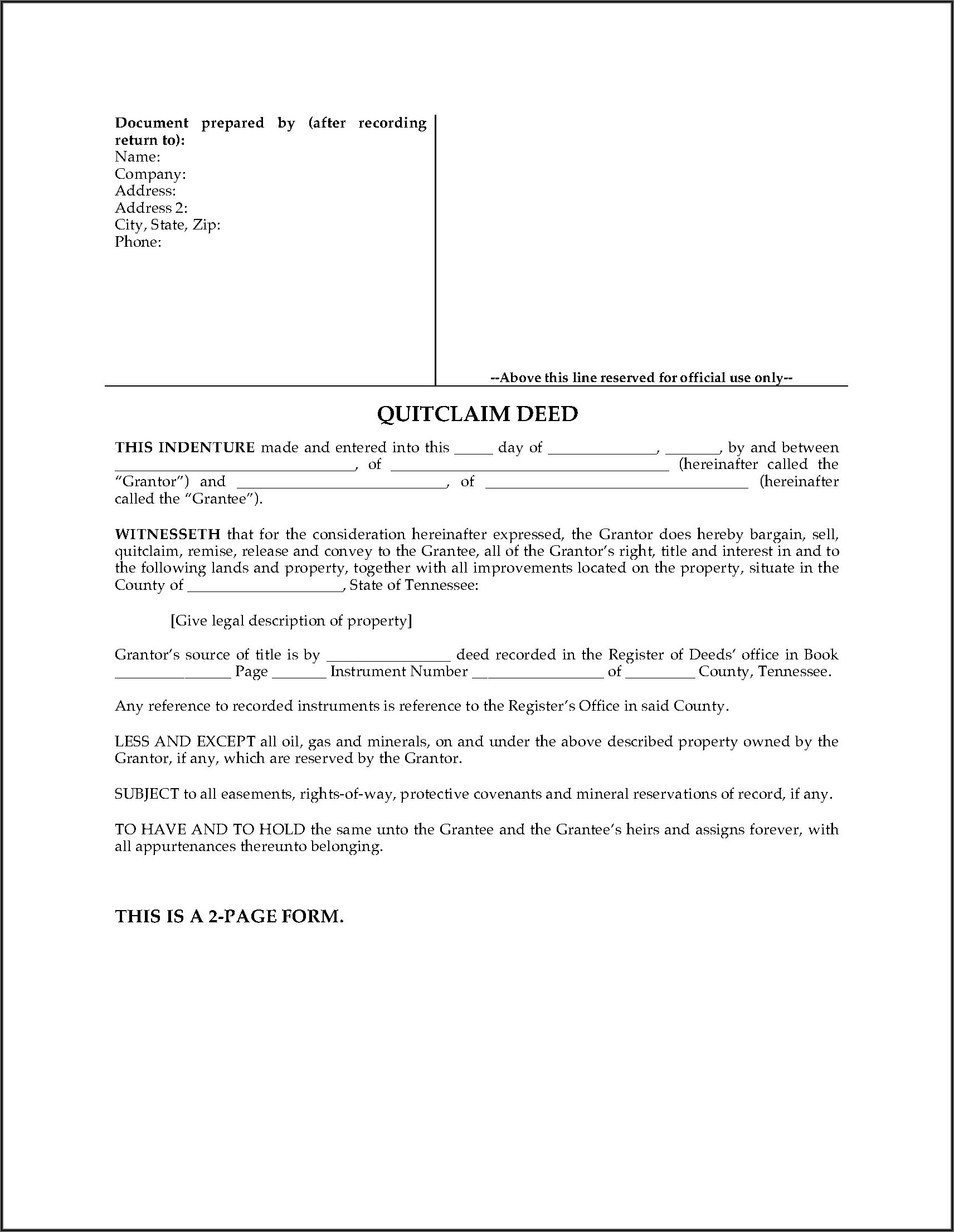 How To Fill Out A Quit Claim Deed Form In Tennessee
