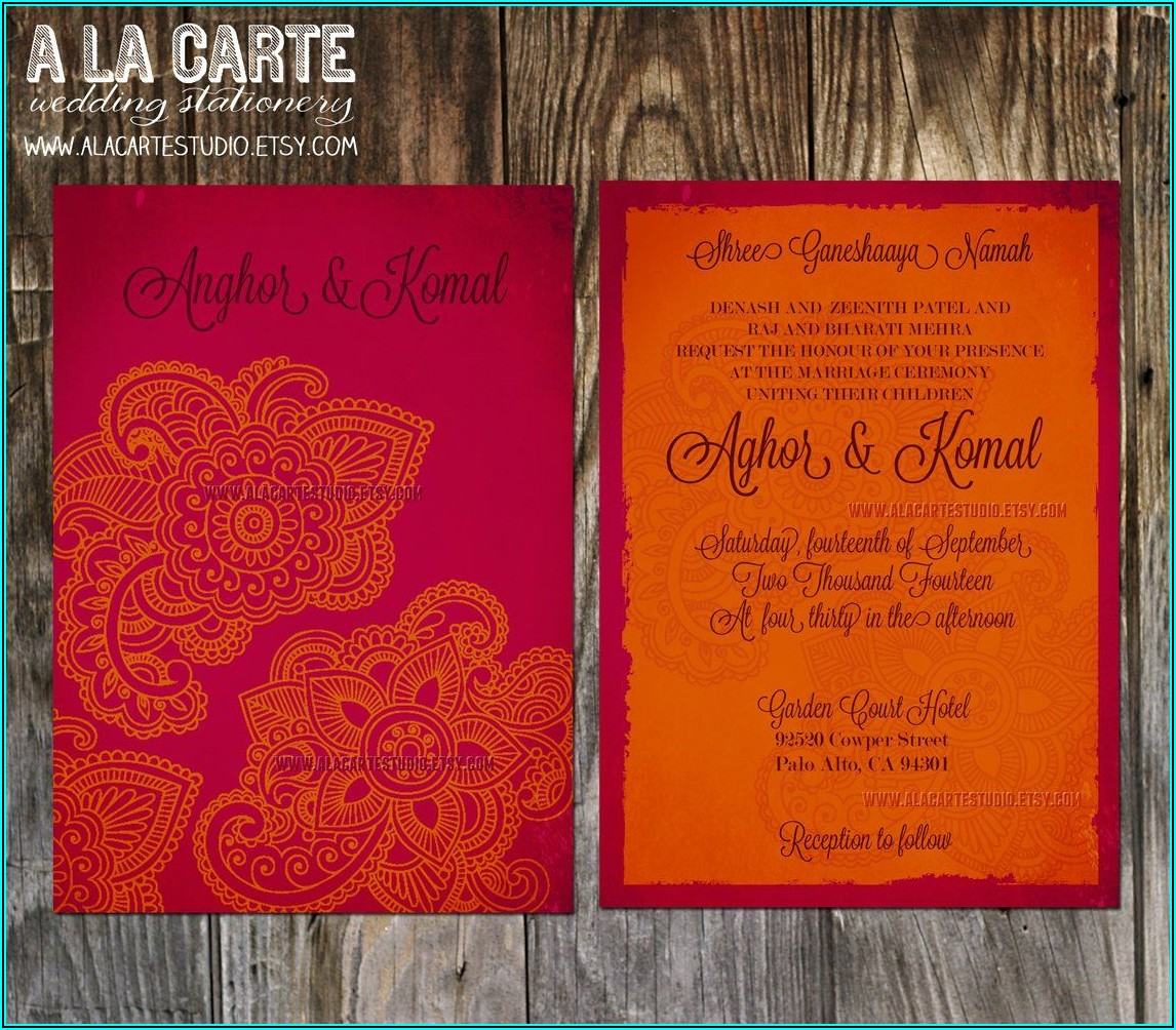Indian Wedding Reception Card Template