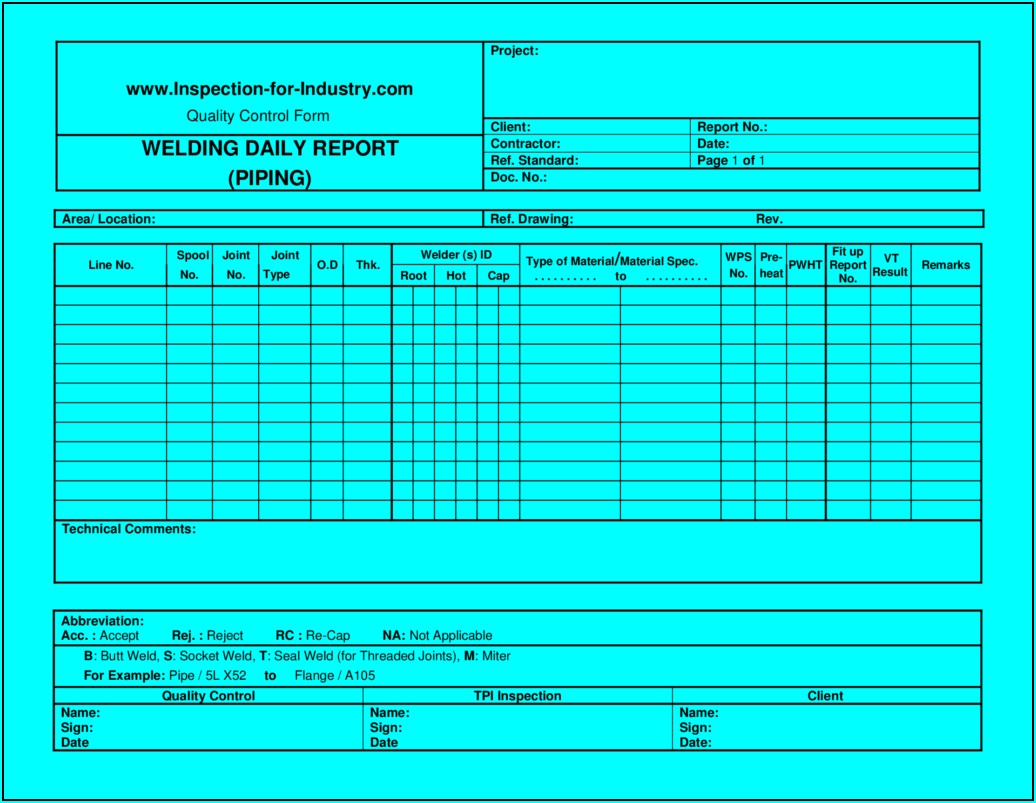 Inspection Report Templates Word 2007
