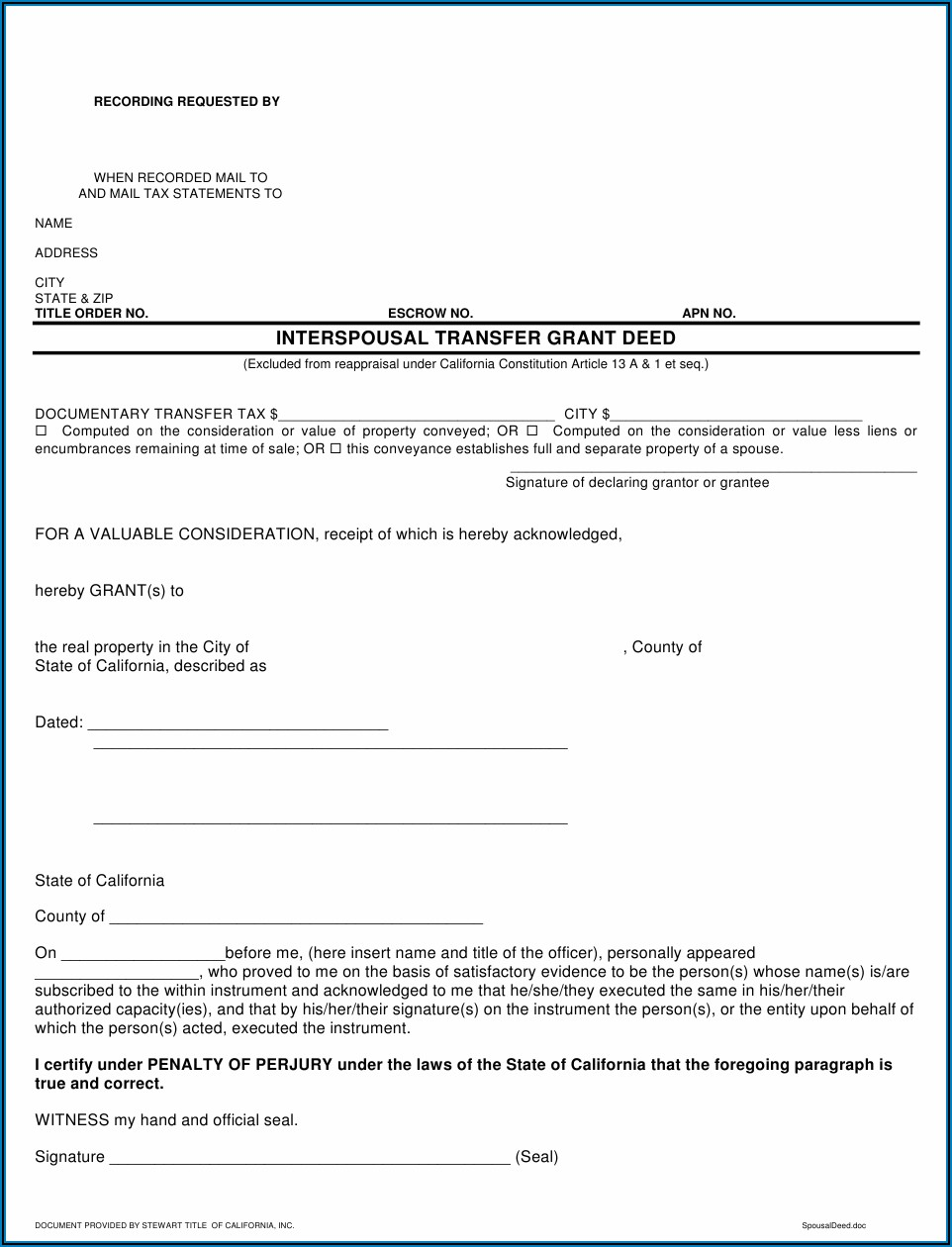 Interspousal Deed Transfer California Form