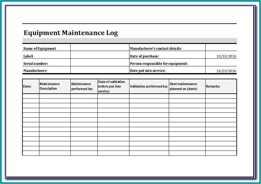 Machine Maintenance Excel Template
