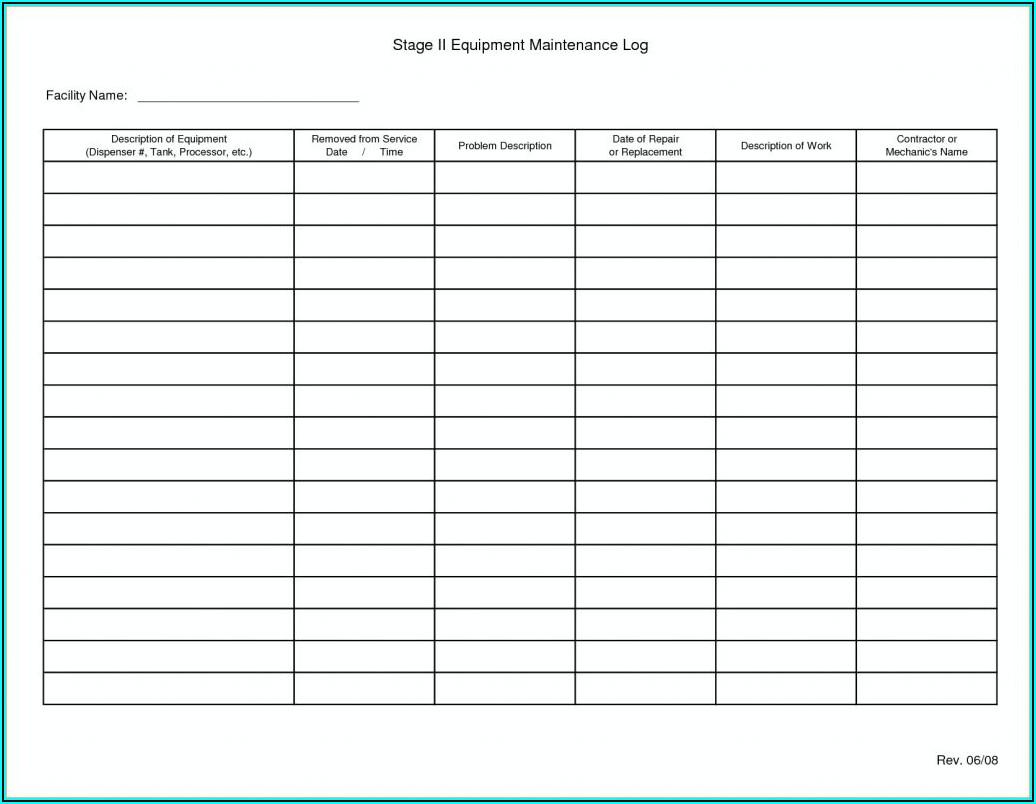 Machine Maintenance Log Template Excel