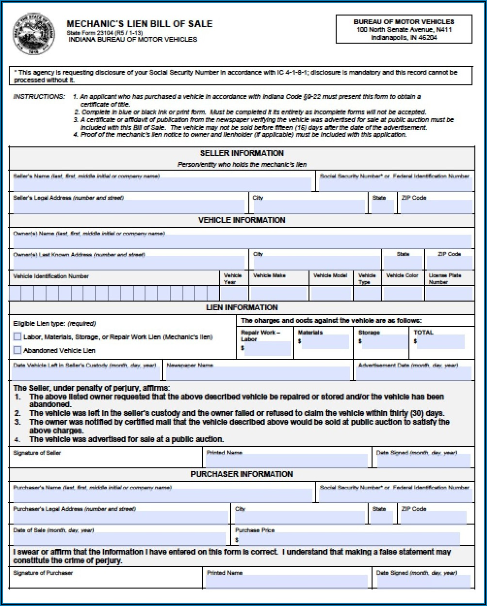 Mechanic Lien Form Free