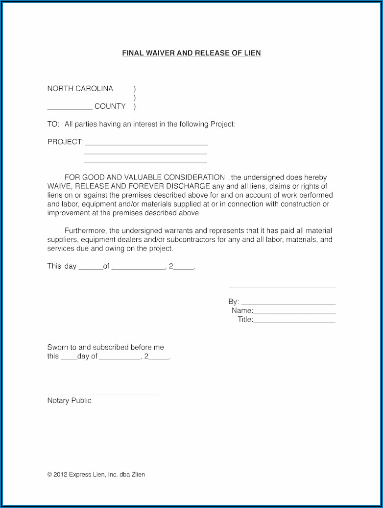 Mechanic's Lien Waiver Form Free