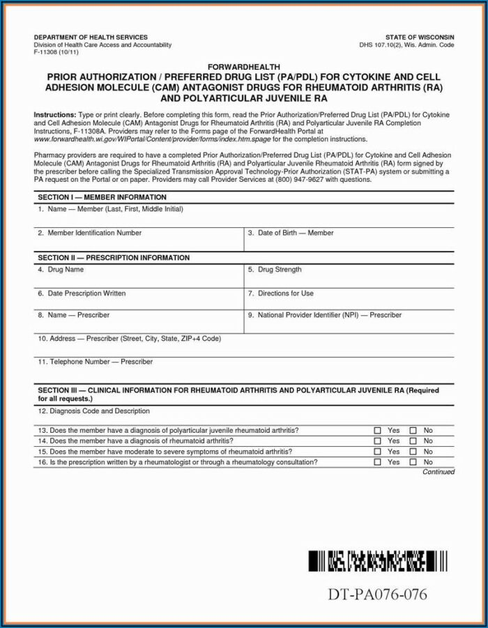Medicare Part D Prior Authorization Form For Medications