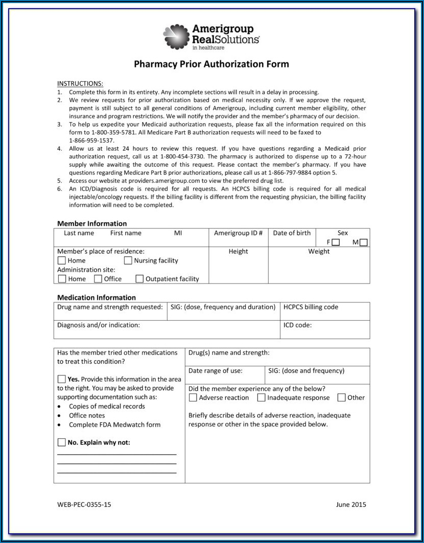 Medicare Prior Authorization Form For Medications