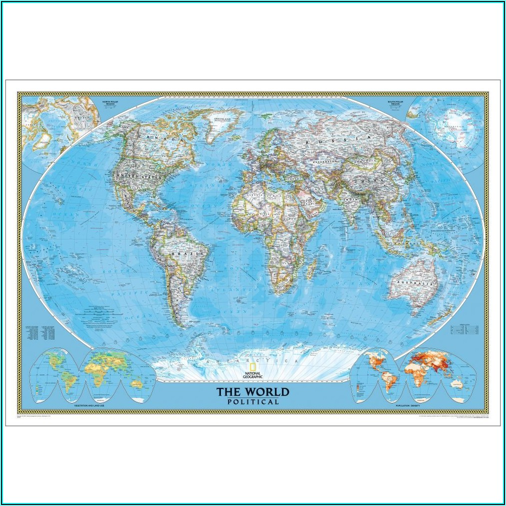 National Geographic Classic Political World Map Mural