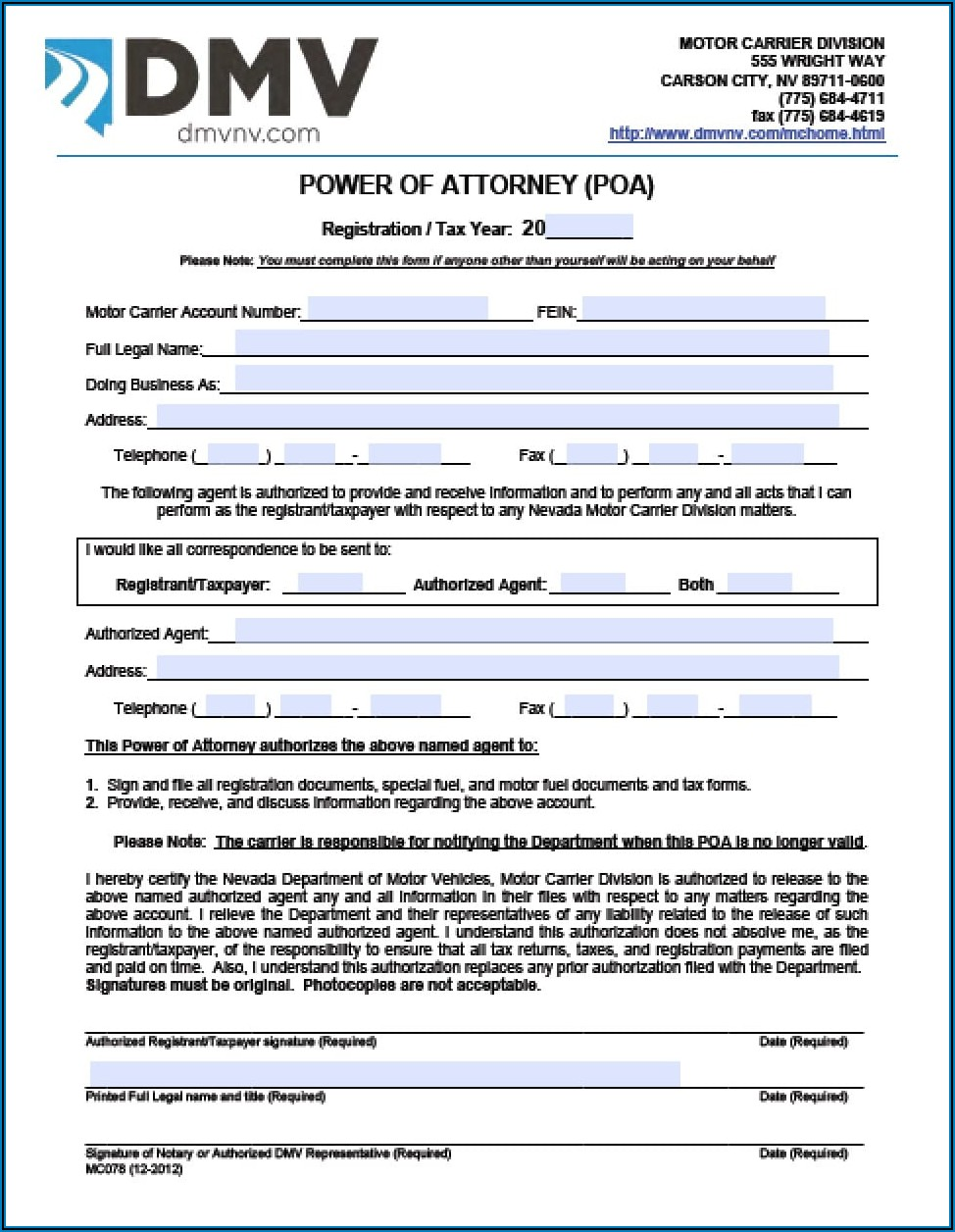 Power Of Attorney Form Nj Bank Account