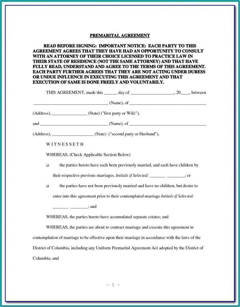 Prenup Agreement Template Usa