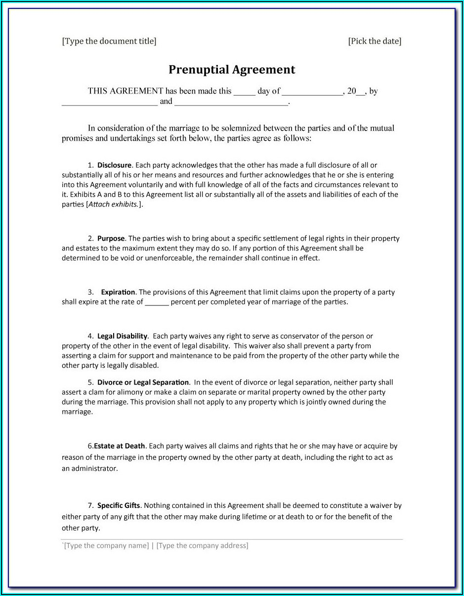 Prenup Agreement Template
