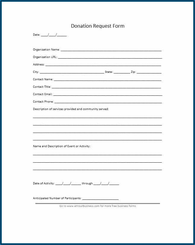 Printable Donation Form Template Word