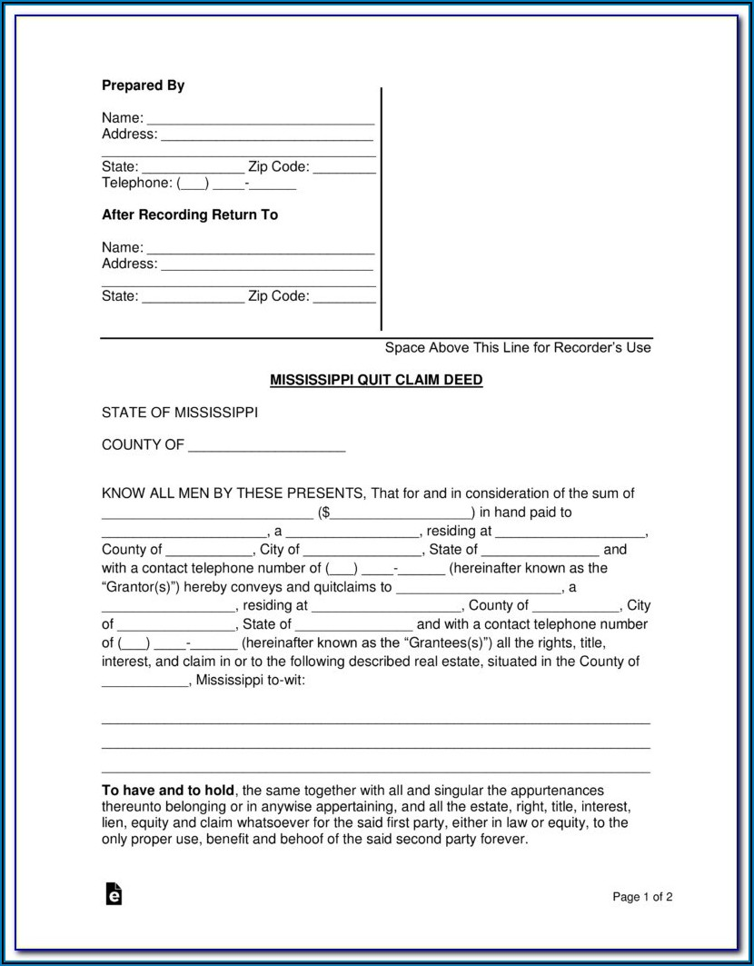 Quit Claim Deed Form Tennessee