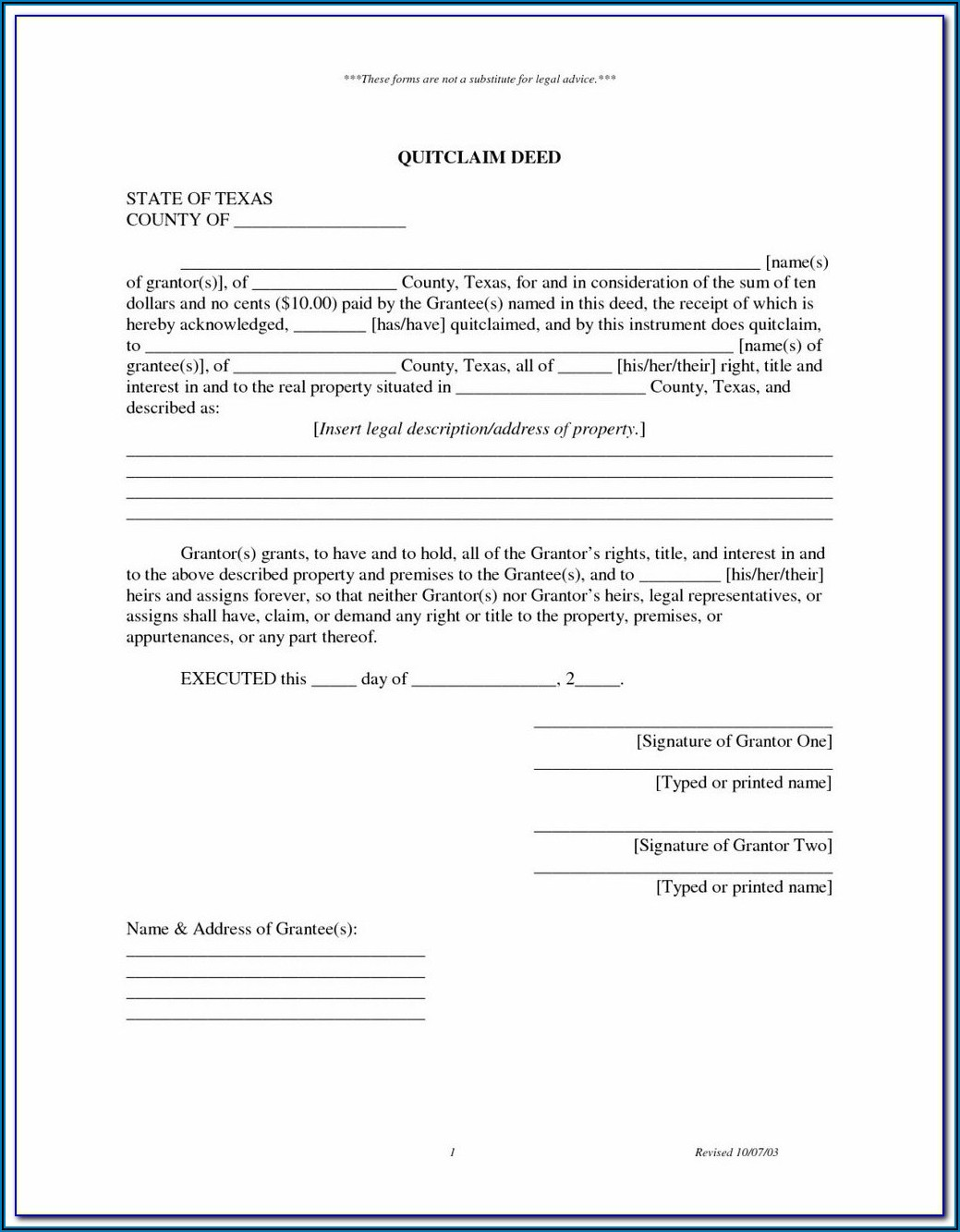Quitclaim Deed Form California Orange County