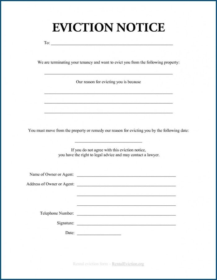 Renter Eviction Notice Sample