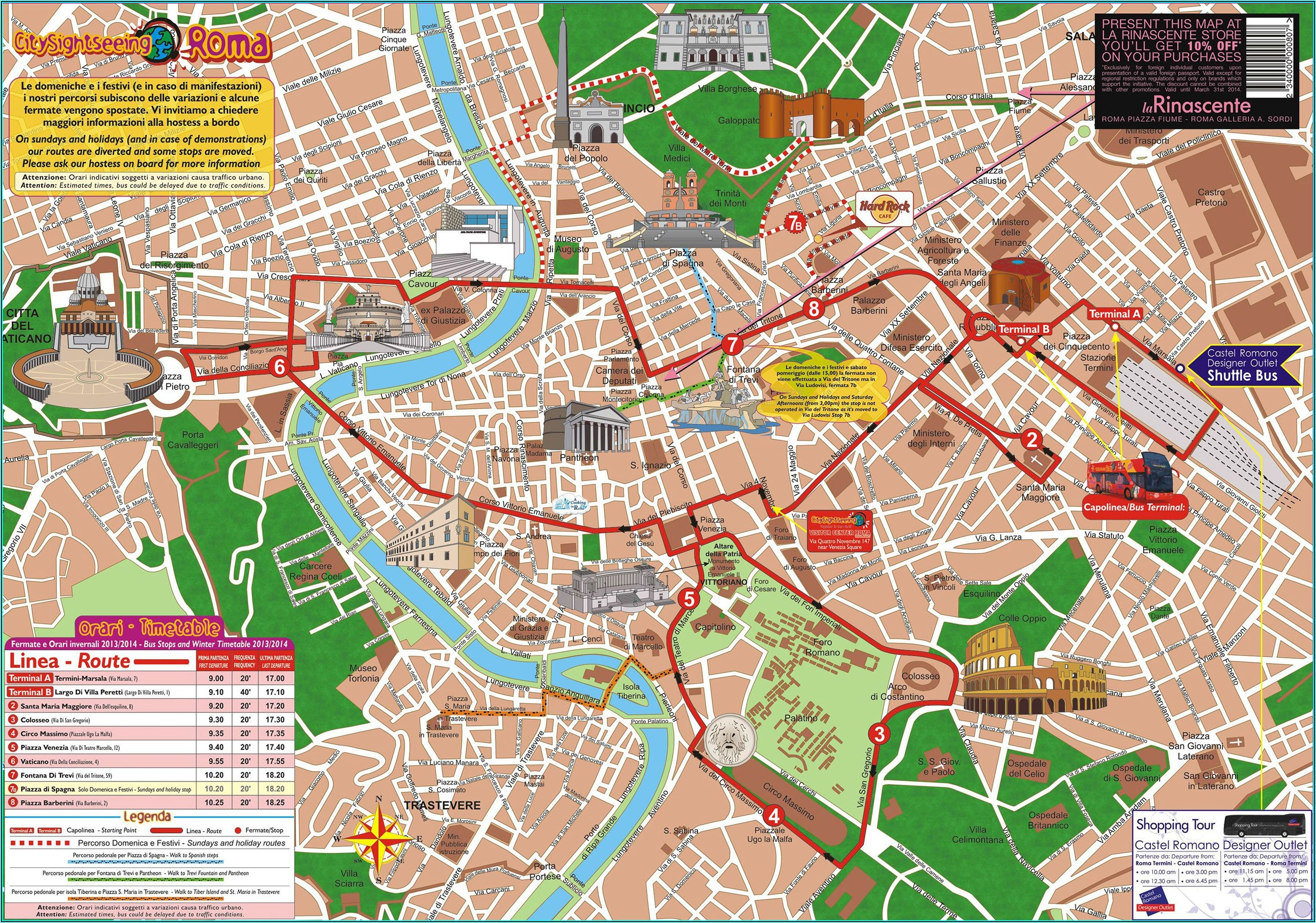Rome Hop On Hop Off Bus Map