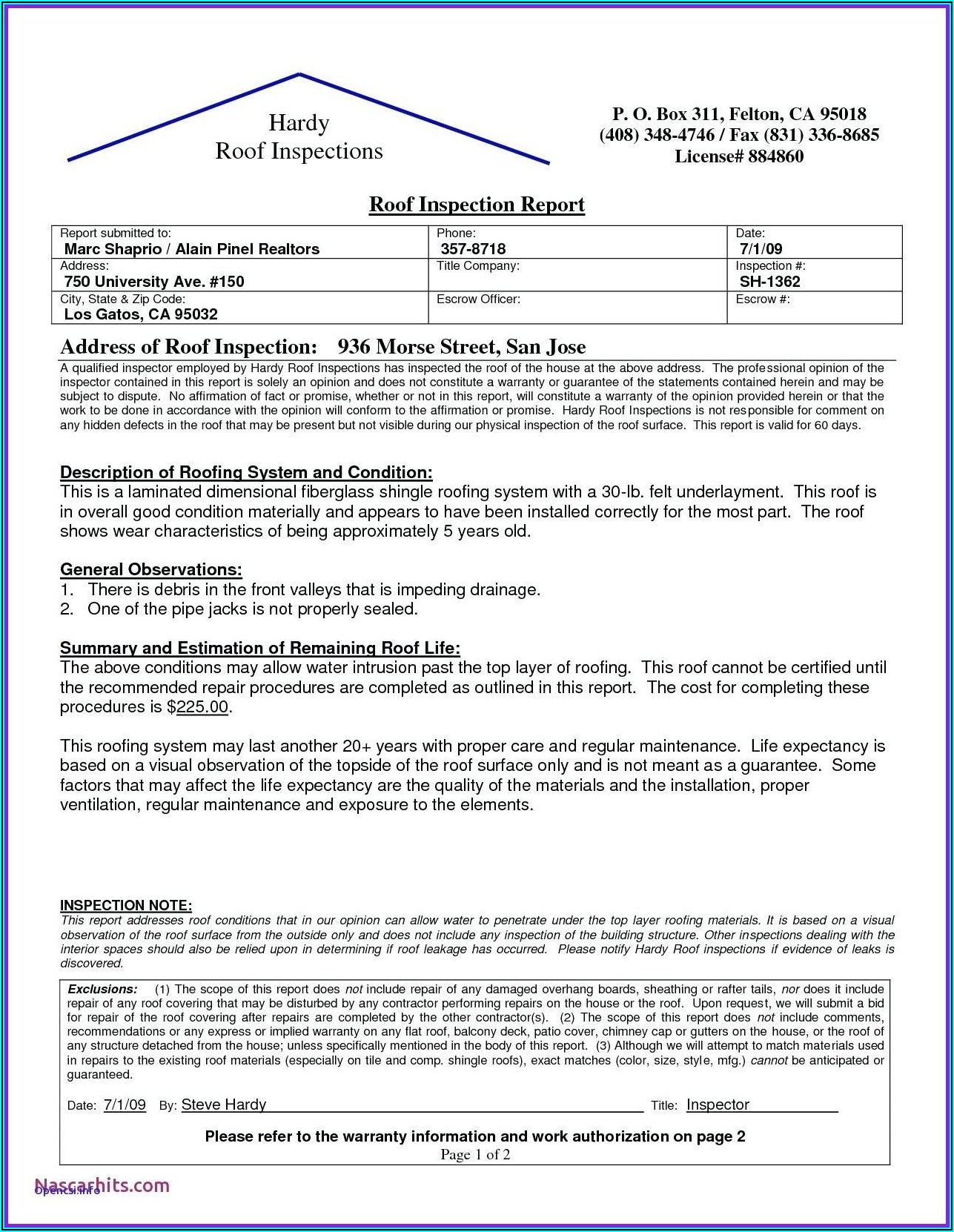 Roof Inspection Report Template Word