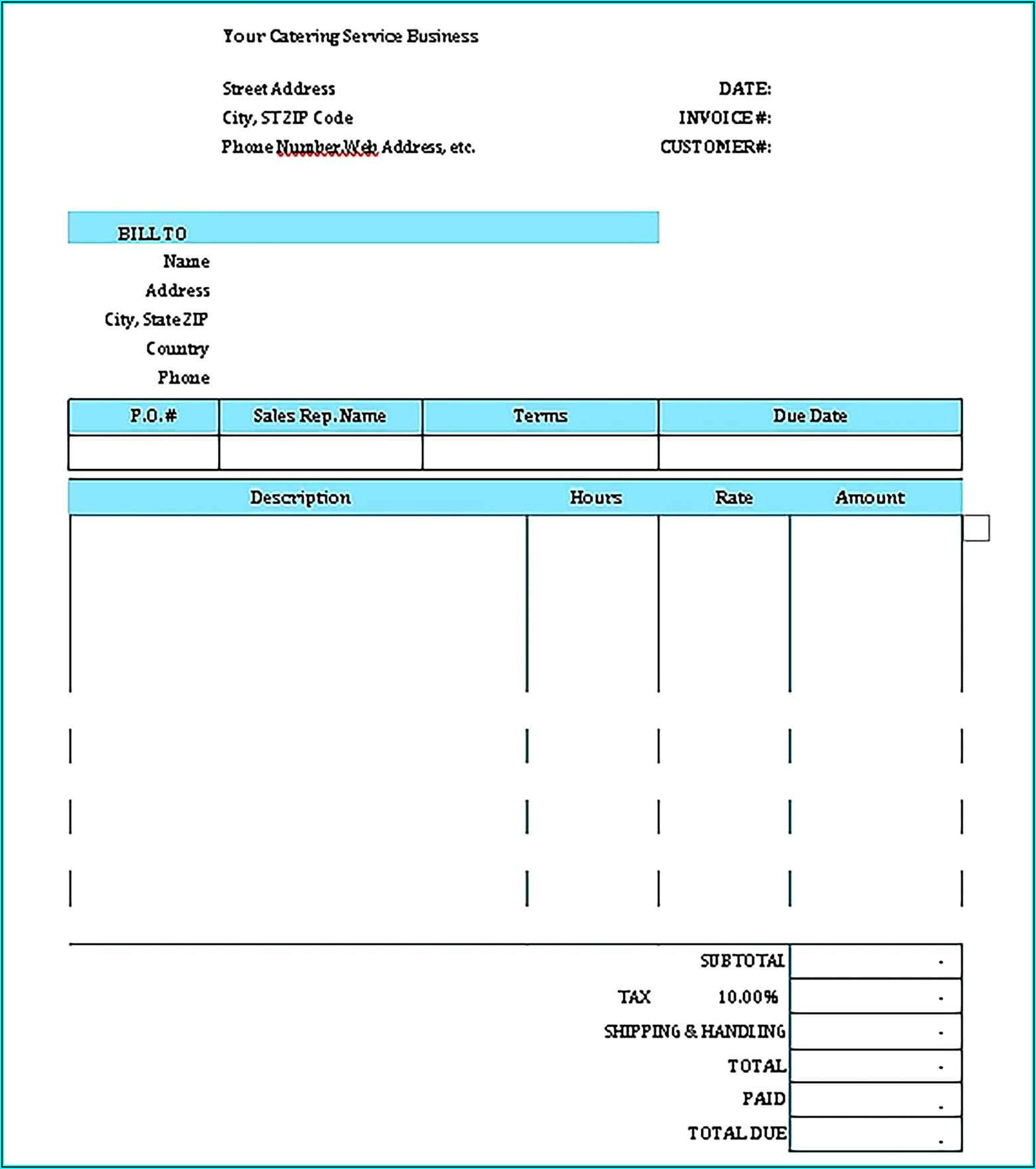 Sample Invoice Catering Services