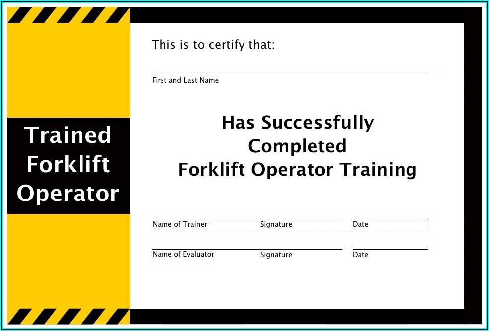 Scissor Lift Certification Card Template Pdf
