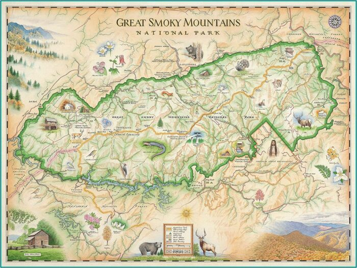 Smoky Mountain National Park Appalachian Trail Map