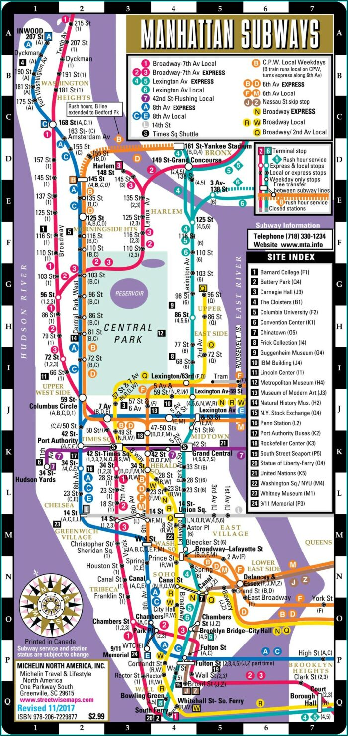Subway Map Of New York City With Streets