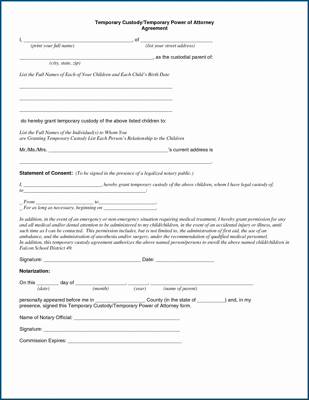 Temporary Guardianship Form Oregon