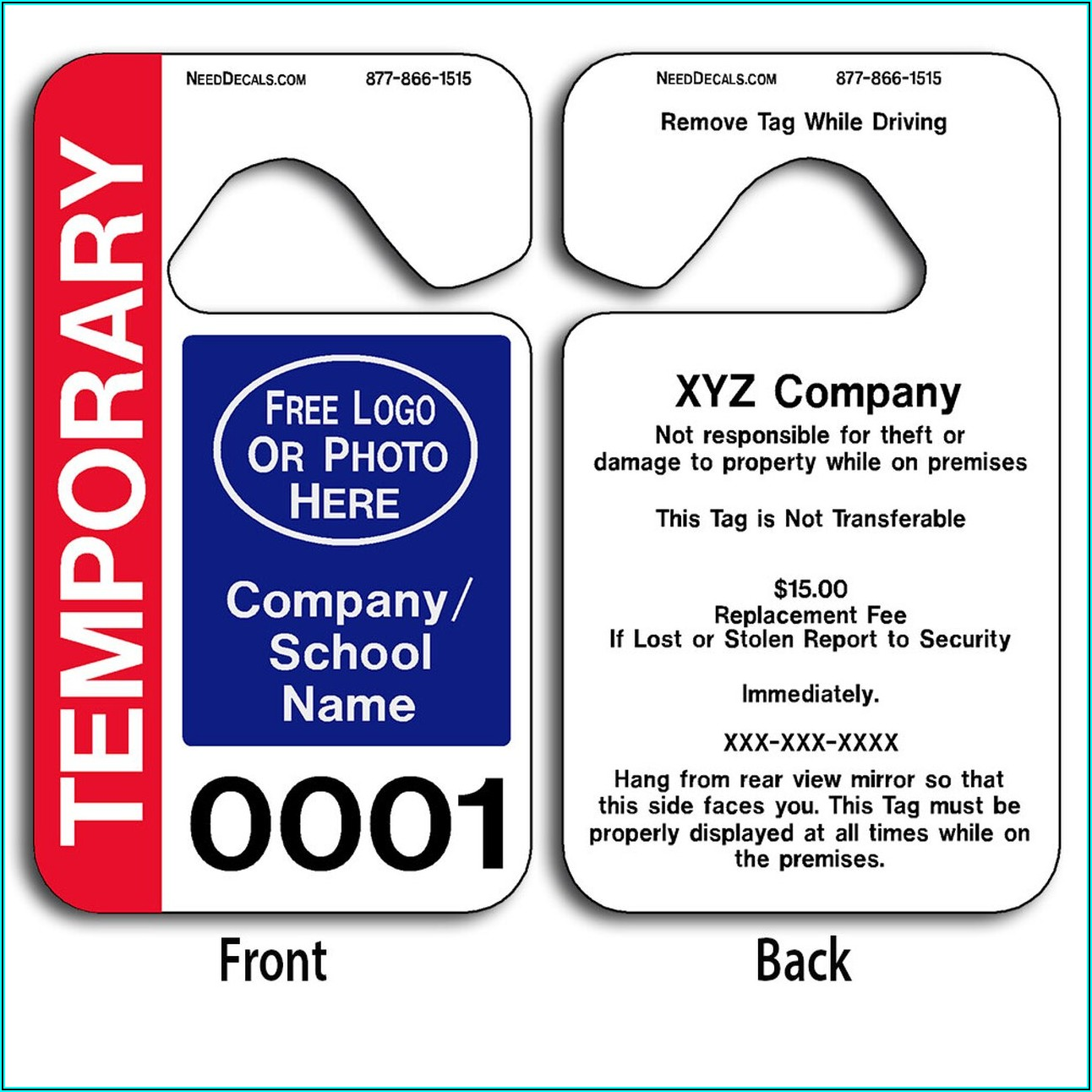Temporary Parking Pass Template