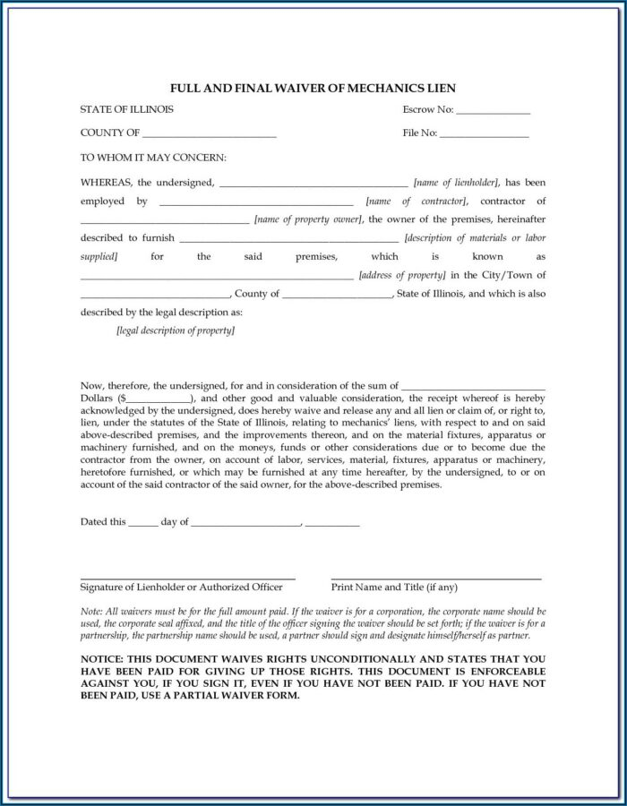 Texas Construction Lien Release Form