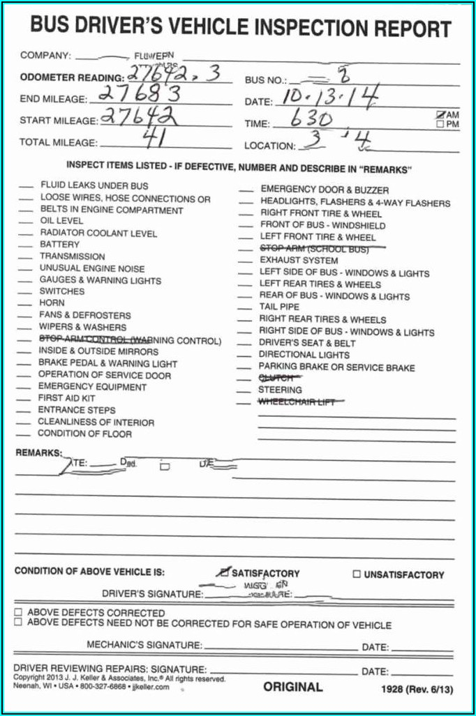 Trailer Inspection Report Form
