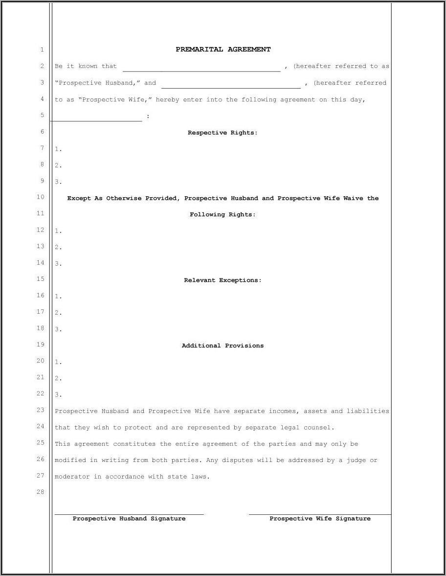Uniform Premarital Agreement Act Template