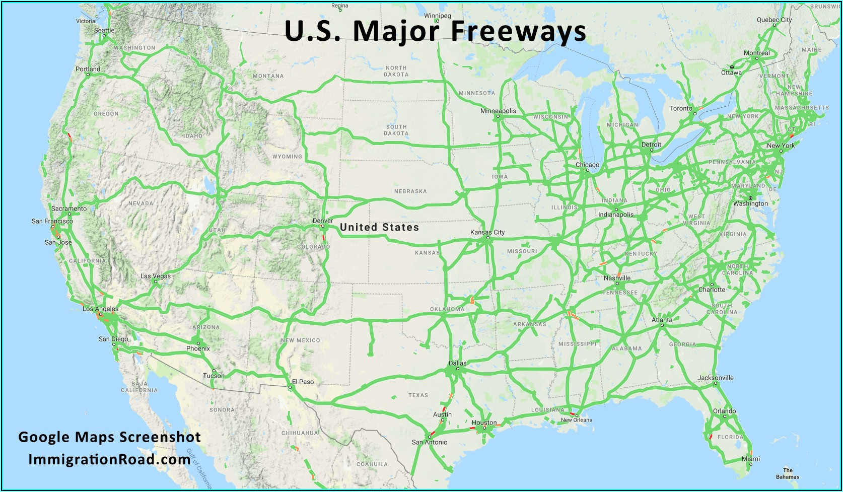 Usa Map With Major Interstates
