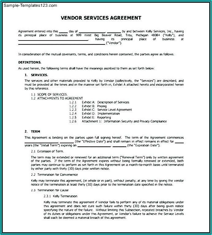 Vendor Service Level Agreement Example