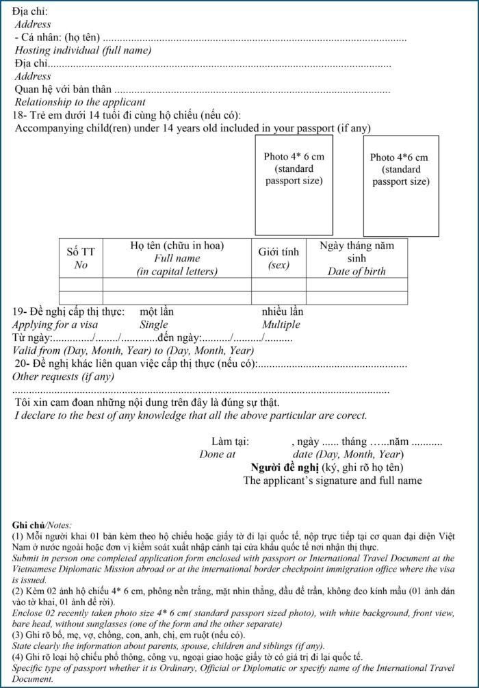 Vietnam Visa On Arrival Application Form Pdf