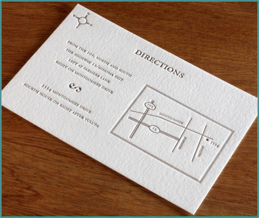 Wedding Invitation Directions Card With Map