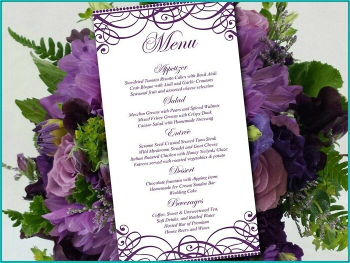 Wedding Reception Menu Card Template
