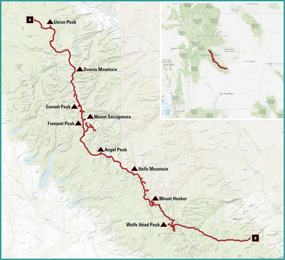 Wind River Range Backpacking Map