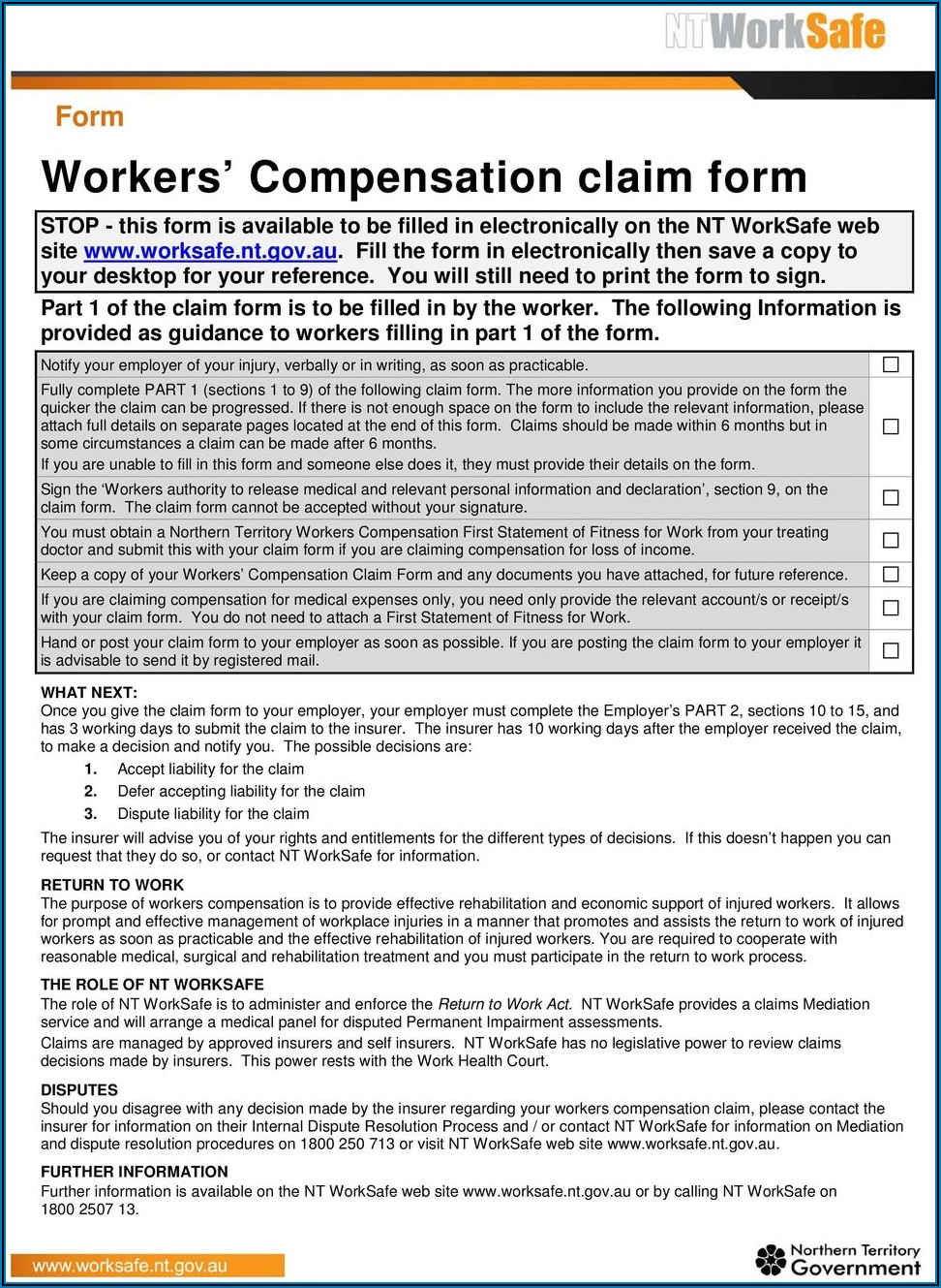 Workers Compensation Claim Form Pdf