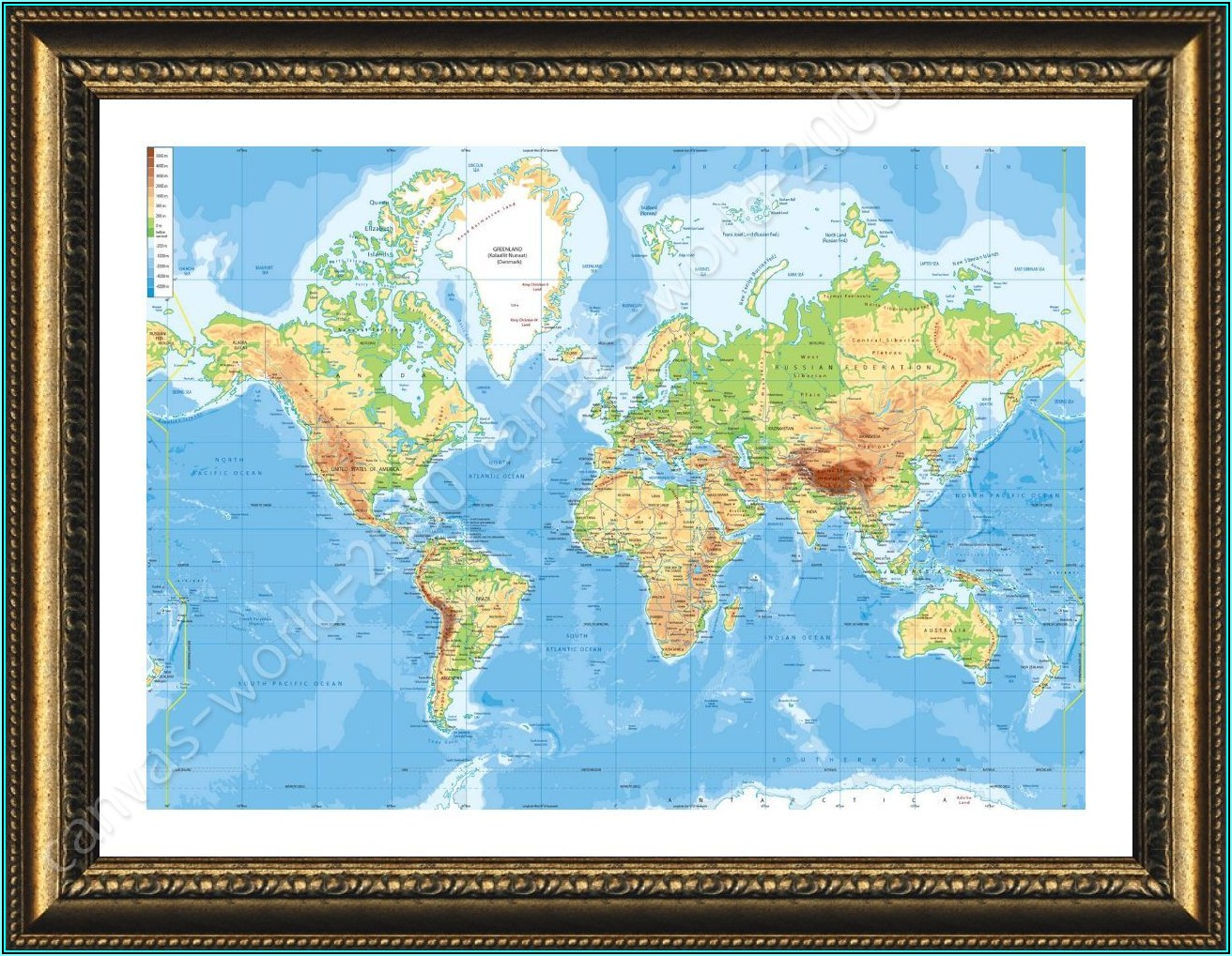 World Wall Maps Framed