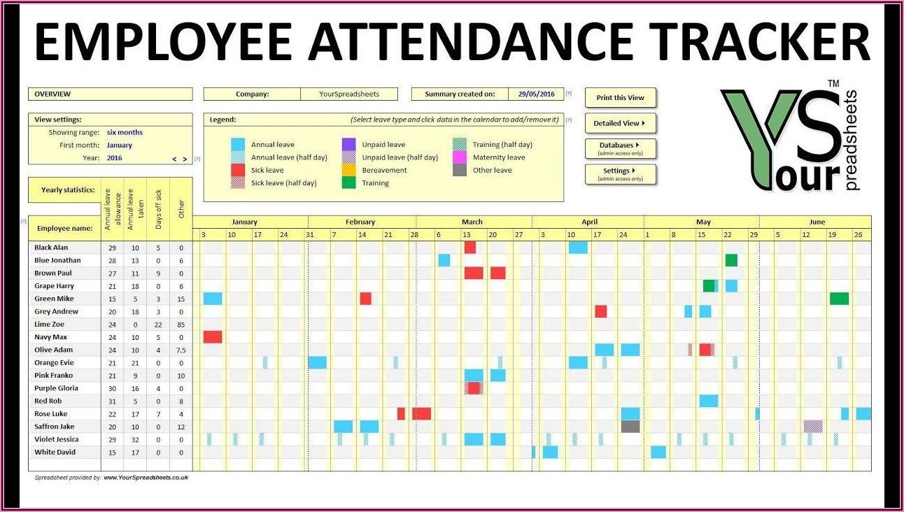 2020 Attendance Calendar Template
