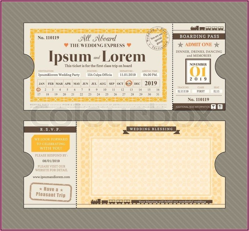 Air Ticket Wedding Invitation Card Template