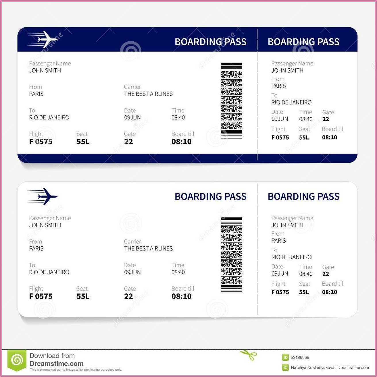 Airline Ticket Wedding Invitation Template Free