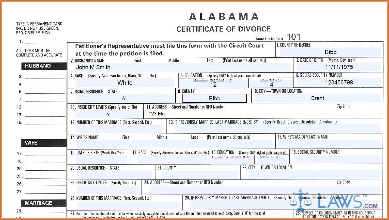 Alabama Contested Divorce Forms