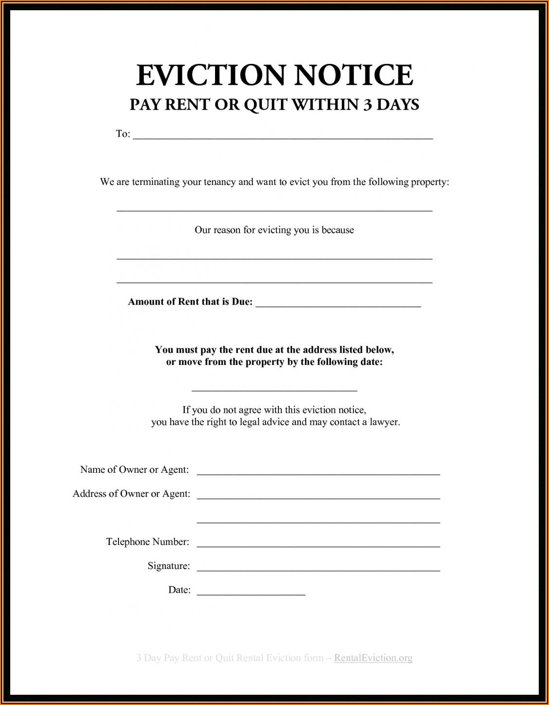 Alberta Landlord Eviction Notice Form