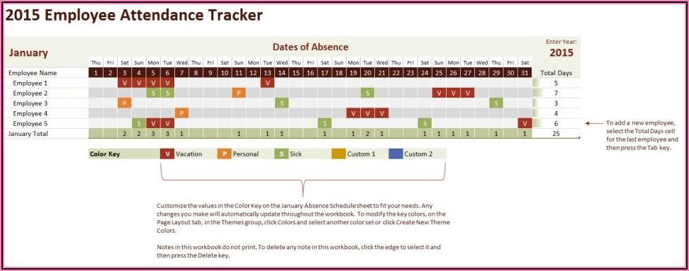 Attendance Calendar Template Excel