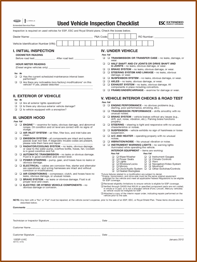 Auto Appraisal Forms Free
