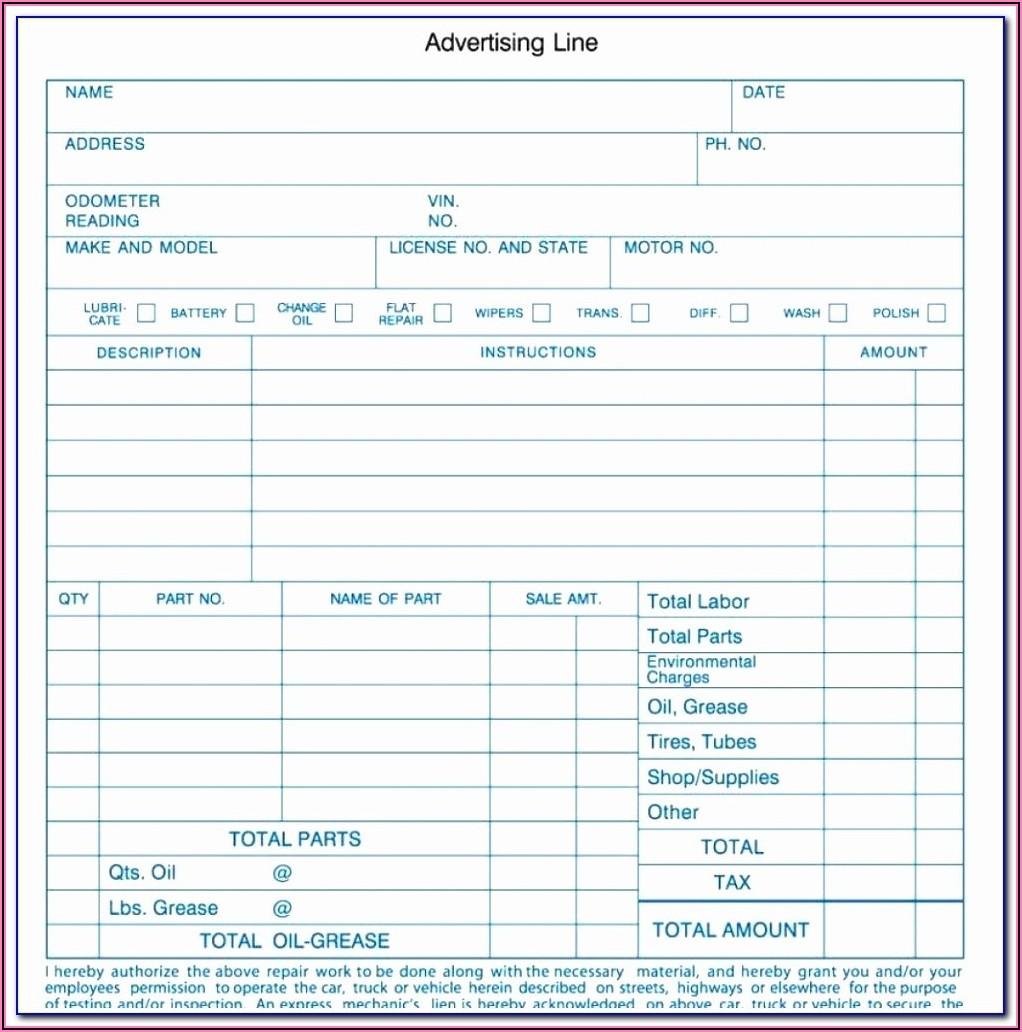 Automotive Work Order Template Pdf